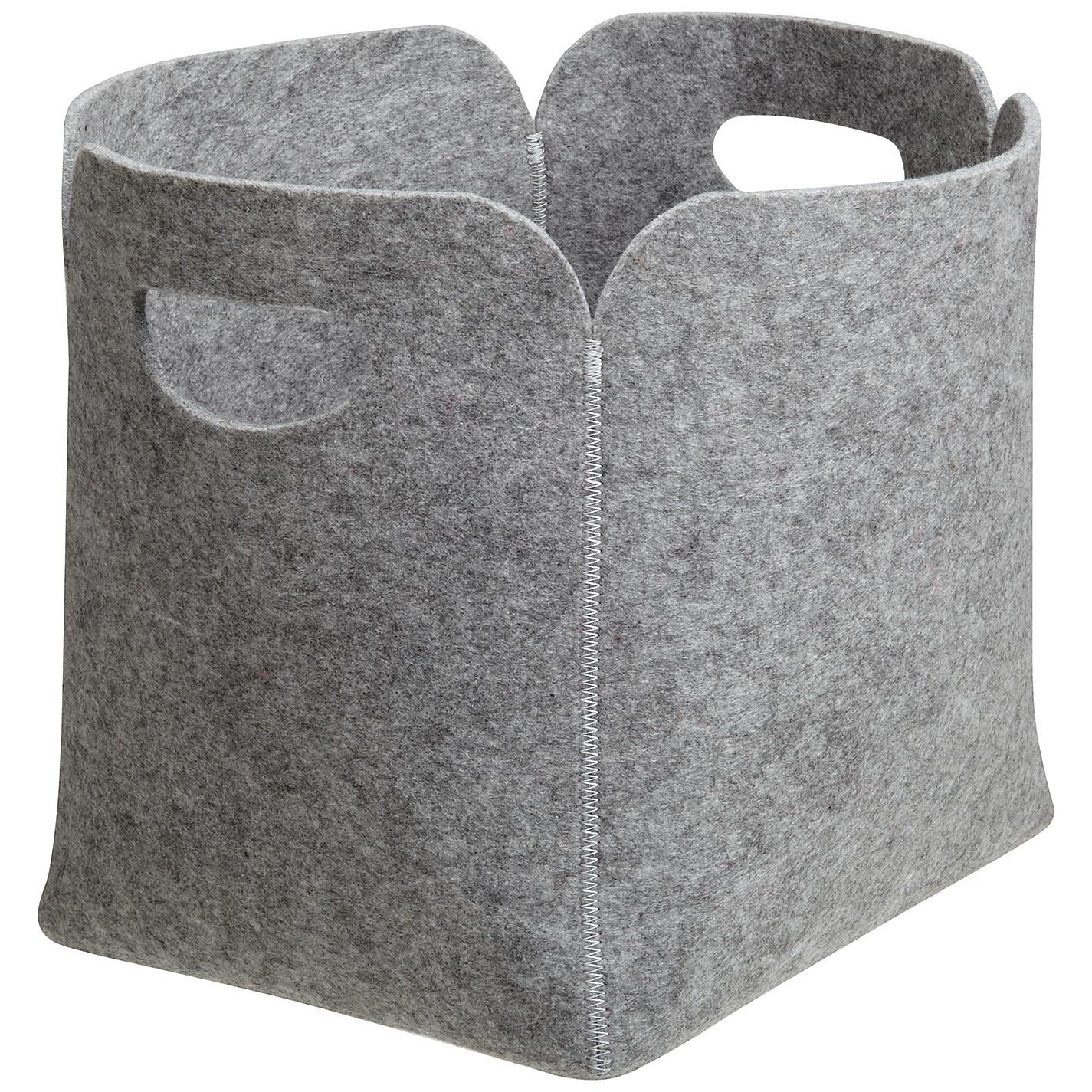 Felt Storage Bin In Grey With Handle For Home Storage Ideas