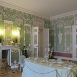 fireplace green table cloth chandleier