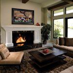 fireplace sofa pillows table rug