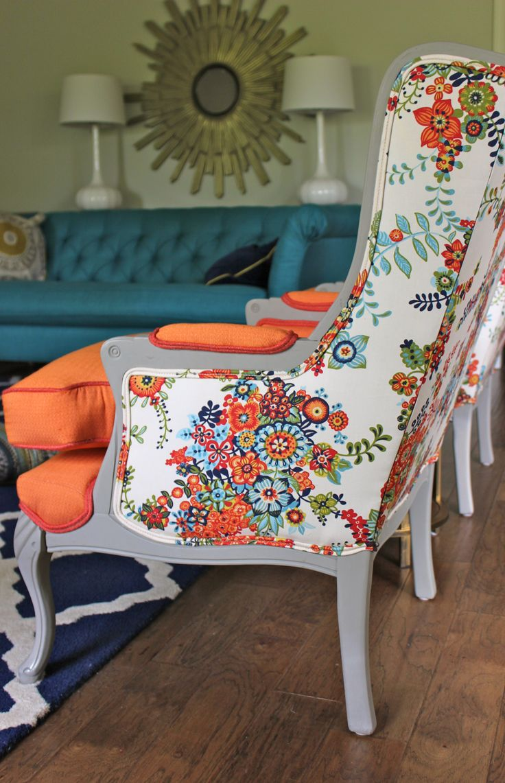 Floral Tropical Fabric Painting Furniture Idea For Chair With Tall Backrest  And Orange Bolster On Blue