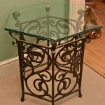 flower craft bronze cast iron table base for glass top small hexagonal glass table wooden floor