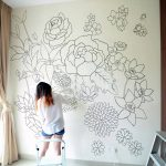 flower wall mural curtain window wood cupboard