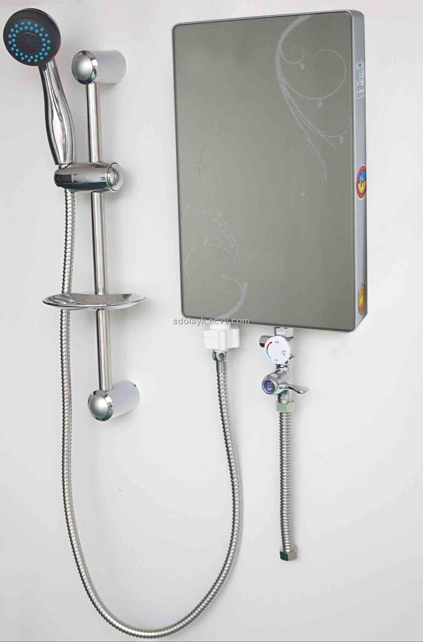 Flowery White Electric Tankless Water Heater Bathroom Wall Installation  Stainless Shower White Wall