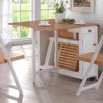 folding space saver dining set in white and brown made of wood plus storage under the table and folding chair for adorable dining room ideas