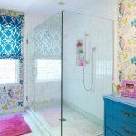 Frameless Clear Glass Enclosed Showers Colorful Motives Feminine Bathroom Blue Bathroom Closet Granite Floor