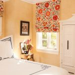 Full Motive Red Color Tone Roman Shades Outside Mount For Soft Orange Bedroom Meeting White Color Scheme