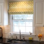 gold tone outside mount roman shades for tile wall kitchen white wooden kitchen cabinets sleek black kitchen top