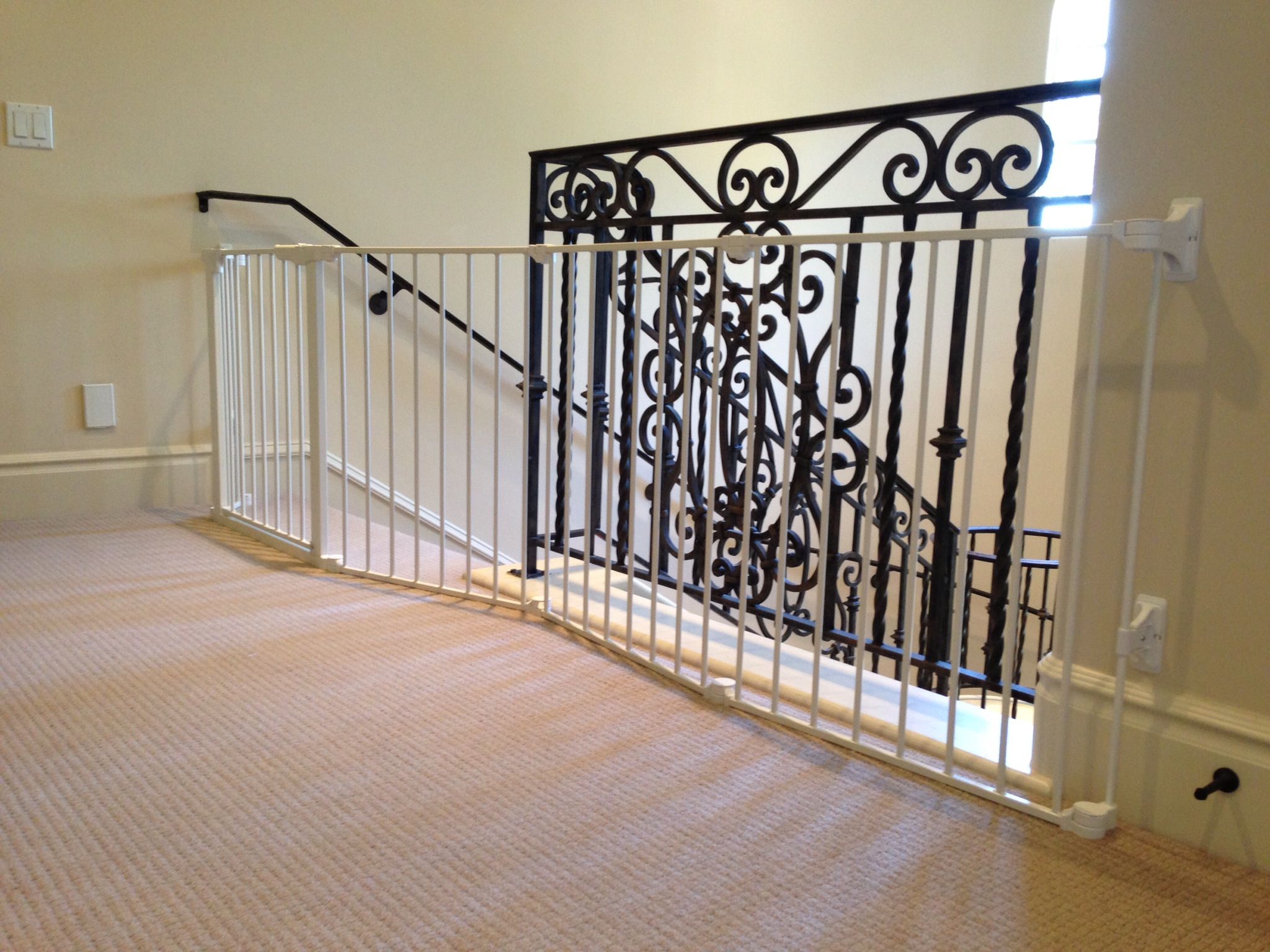 Gorgeous And Luxurious Baby Gate For Top Stairs Idea Made Of Scrolled Metal  In Black Color