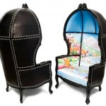 gorgeous armchairs painting fabric furniture idea with summer theme and black leather backrest idea