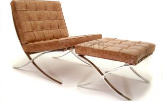 gorgeous brown barcelona chair dimension design with metal frame and plaid texture on the surface with foot rest