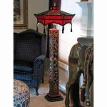 gorgeous custom oriental red tone Mission style floor lamps for living room dot motive small black sofa