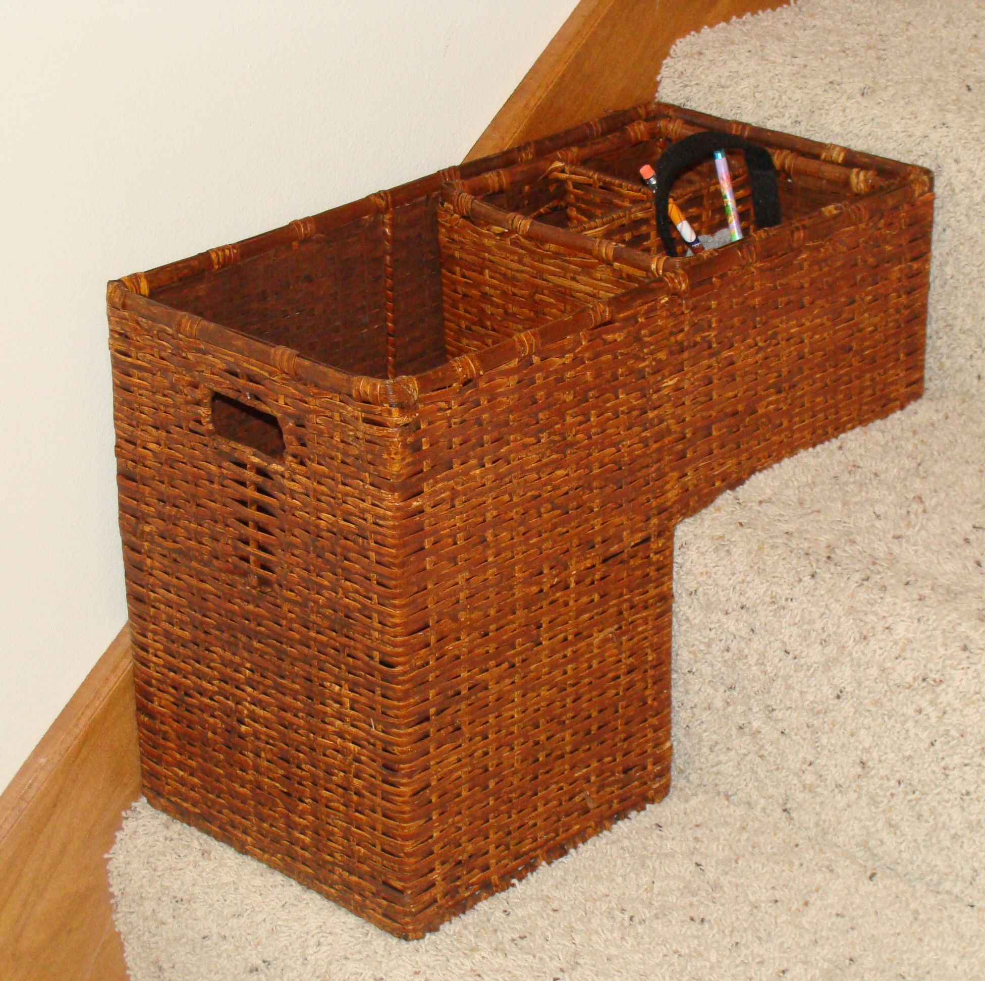 Gorgeous Furnished Rattan Basket For Stairs Design With Slots In The  Storage On Coated Steps In