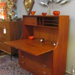 gorgeous home office design with natural wooden dresser aside mid century secretary desk design idea with upper racks on patterned area rug