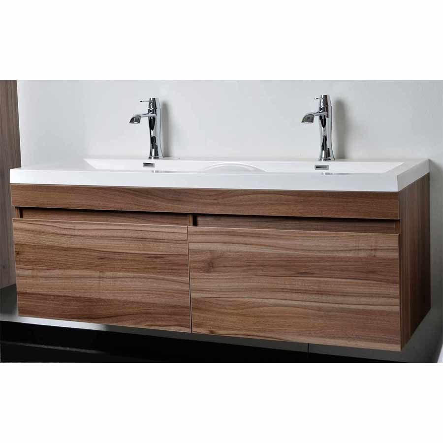 Single bathroom sink with two faucets - Gorgeous Natural Wooden Bathroom Vanity Design With White One Sink Two Faucet Idea Floating On White