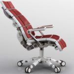gorgeous reddish aeron chair adjustment design with long backrests and white swivel and armrests