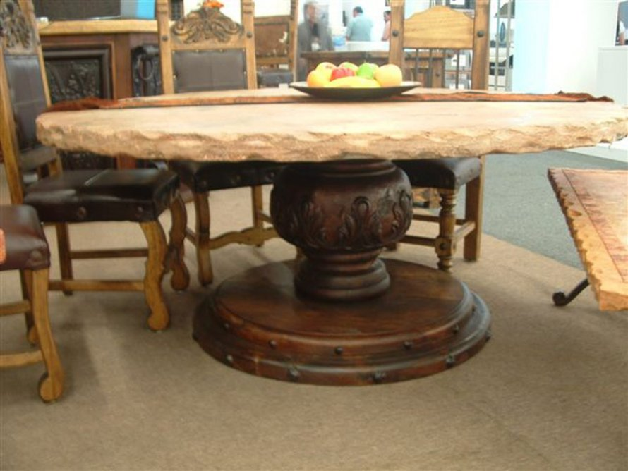 Gorgeous Rustic 84 Round Dining Table Idea With Unique Carved Beam And  Round Base And Vintage