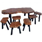 gorgeous vintage log coffee table idea with black legs and log stools design with black legs