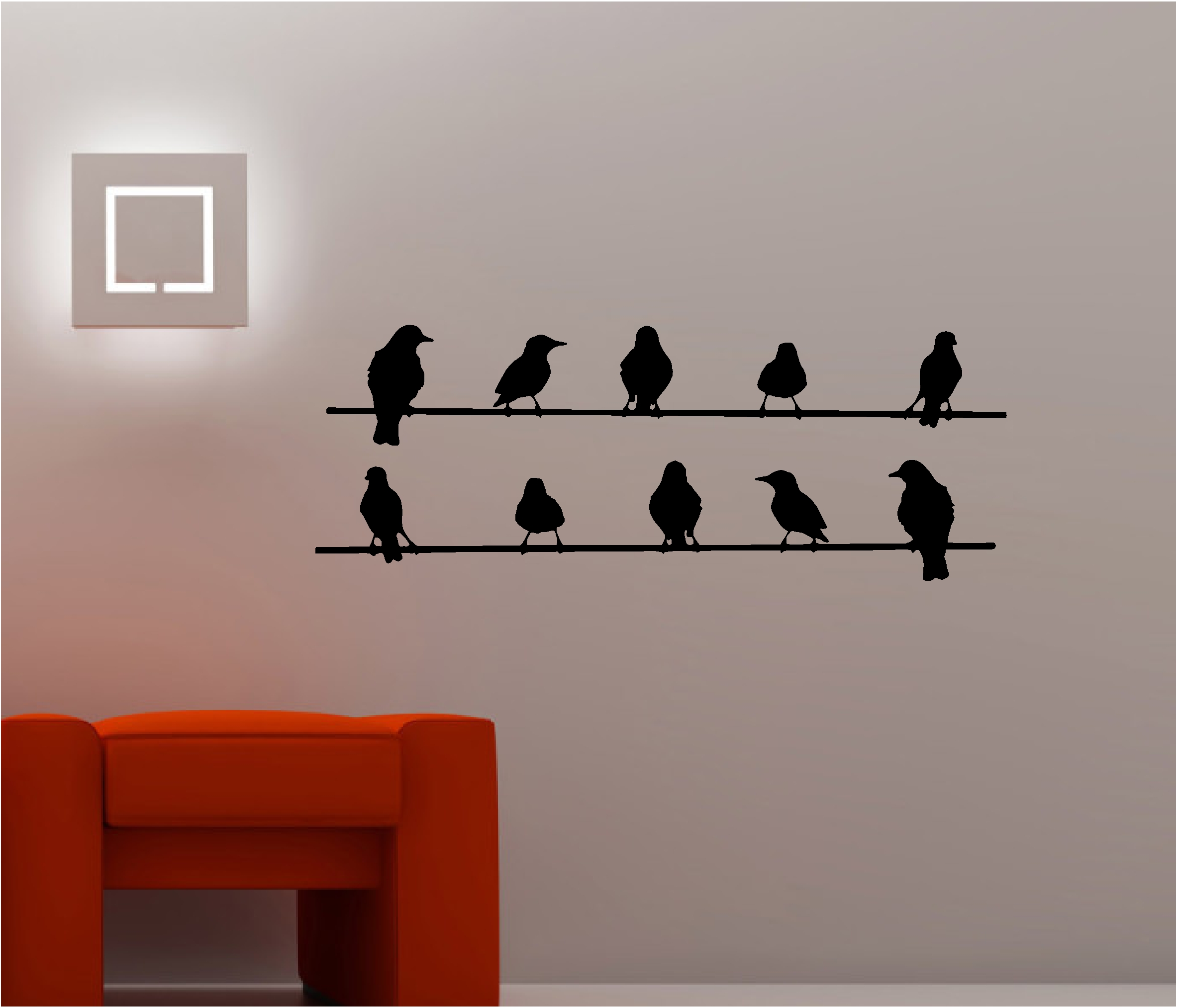 great interior design with white wall and unique urban wall lamp and black bird on a