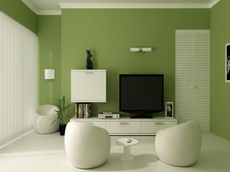 Green Interior Paint Colors For 2014 For Living Room Ideas With White Tv  Stand And Comfy