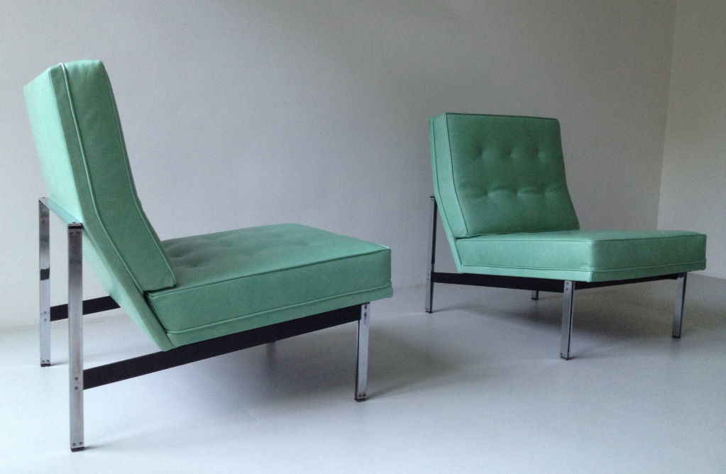 Green Leather Slipper Chair In