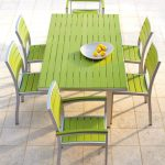 green target patio chairs with green wooden table plus tile flooring ideas