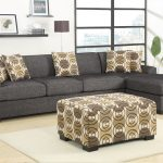 grey 2 piece sectional sofa with chaise plus cute patterned decorative cushions plus ottoman coffee table with white soft rug on light laminate floor
