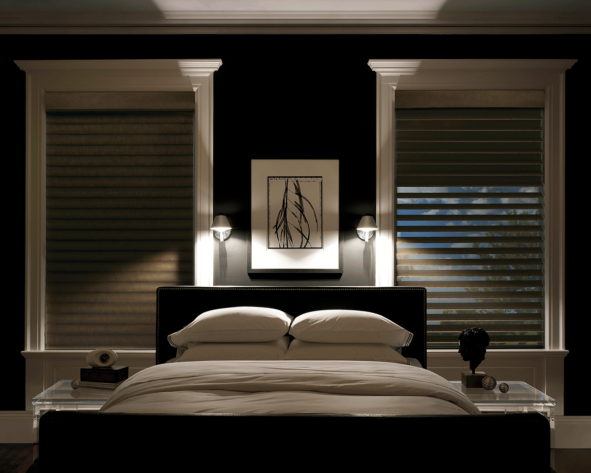 Best Blackout Blinds for Better Sleep and Privacy HomesFeed : grey cellular blackout blinds for bedroom black white bedroom abstract wall painting white window frames white cushions and bedsheet from homesfeed.com size 1200 x 960 png 310kB