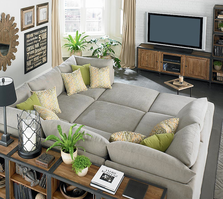 Grey Cube Huge Sectional Sofa Small Tidy Living Room Wooden Furniture Black  Tile Floor Plant Pots