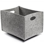 grey felt storage bin in medium size with modern shape for home accessories