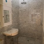 grey marble subway tile shower for modern shower bathroom ideas plus washbasin and mirrror plus toilet
