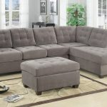 grey tufted 2 piece sectional sofa with chaise in contemporary design combined with grey ottoman and beige brown rug plus greenery
