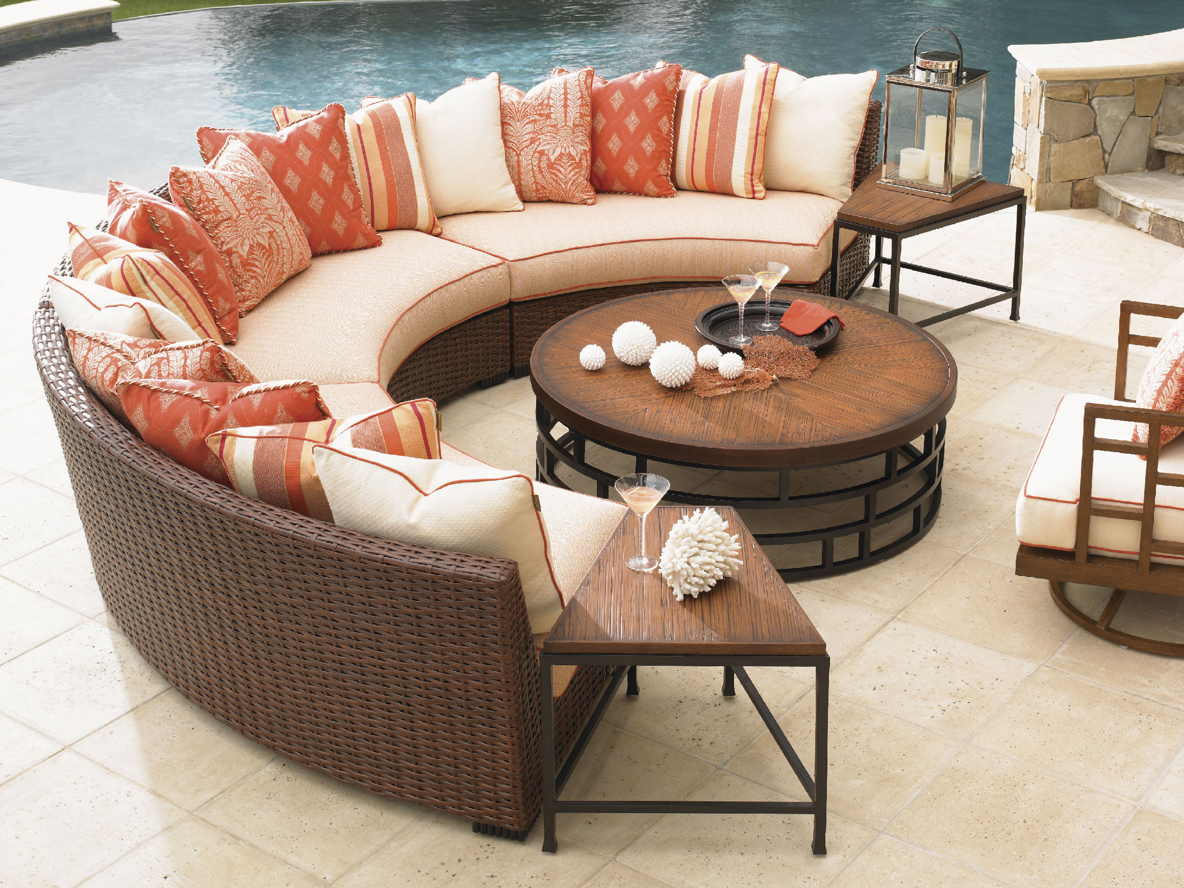 Half Round Bamboo Thomasville Outdoor Furniture Pop Colors Cushions Natural Wooden Round Table Natural Porcelaine Floor