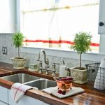Half Window Curtains Above The Kitchen Sink For Kitchen Offered In Simple  Design Plus Wooden Countertop And White Cabinets