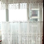 half window curtains with embroidery and small floral pattern decorated with window valance