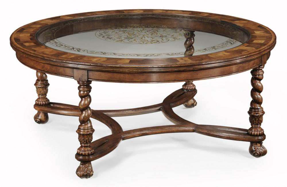 Exceptional High End Coffee Tables In Antique And Unique Design Presented In A Round  Shape With Glass