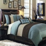 high end linens for bedding set with nightstand in dark finishing and beige rug plus lamp and vase