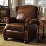 high end recliners in traditional design with contended back and arm decorated with wooden end table