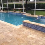 honed ivory travertine pavers pool deck natural ivory travertine pavers two level small swimming pool flowers in pot accents