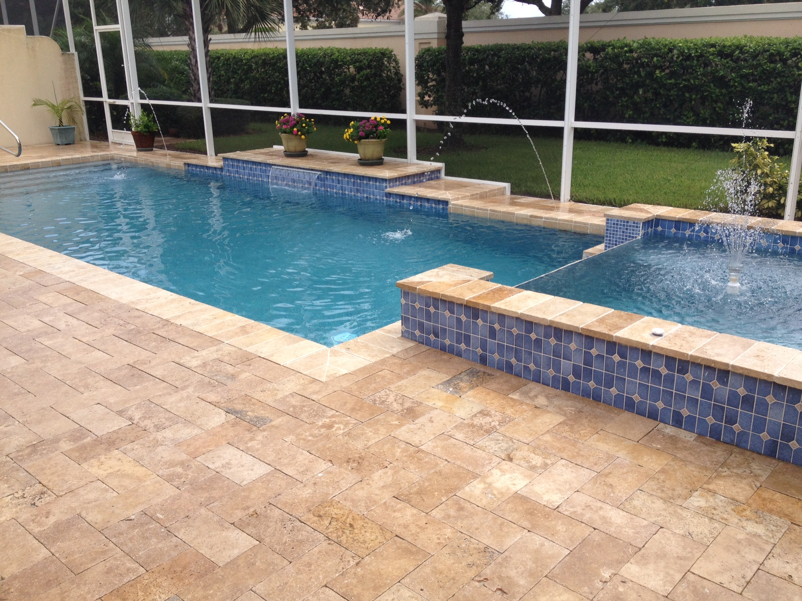 honed ivory travertine pavers pool deck natural ivory travertine pavers two  level small swimming pool flowers