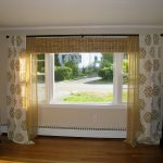 images of window treatments combination of wicker blind and simple gold tone shades for casement windows