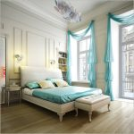 images of window treatments for large white windows with pasttel blue beautiful shade matching with pastel blue bedsheet and natural wooden floor