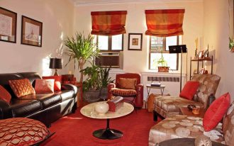 images of window treatments for small windows with simple red tone roman shade blends well with red tone comfortable living room