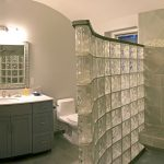 Inspiration Bathroom Awesome Glass Block Divider Bathroom And Gray Vanities Single Sink Mirrored Also White Toilet Designs In Master Bathroom Concepts Debonair Master Bathroom Layouts Remodels And D