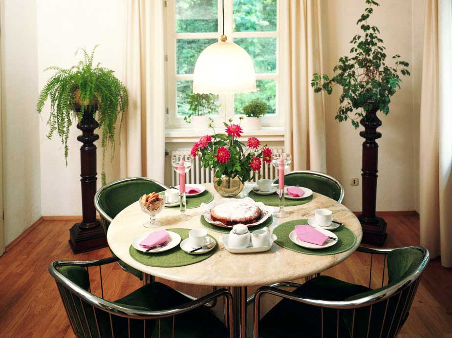 Inspiring Centerpieces For Dining Room Tables In A Round Table With Marble Top Plus Green Chairs