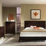 interior paint colors for 2014 for bedroom with comfy bed plus rug and wooden nightstand plus drawer dresser plus wooden headboard