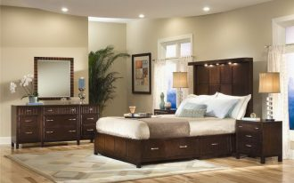 interior paint colors for 2014 for home and bedroom with wooden bed frame with headboard plus wooden nightstand with table lamps and dressers and modern rug on hardwood floor