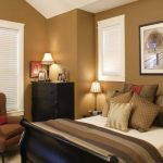 interior paint colors for 2014 in brown scheme for bedroom with divan bed plus comfy bedding and brown pillow plus brown armchair and window with blinds