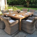 kingsley bate sag harbor for outdoor dining space with square wooden table and dining arm chairs plus flower vase as centerpiece