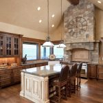 kitchen beams lamps wood set stone wall