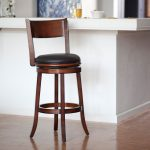 kitchen counter stool with back full back natural wooden counter stool wooden frame bold black seat natural porcelaine floor